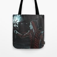 dragon age Tote Bags featuring Dragon Age: The Hermit by Sara Cuervo