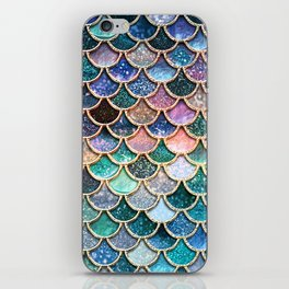 Multicolor Pink And Aqua Mermaid Scales - Beautiful Abstract Glitter Pattern iPhone Skin