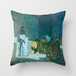 African American Masterpiece 'Daniel in the Lion's Den' by Henry Ossawa Tanner Throw Pillow