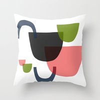 mid century Throw Pillows featuring Mid Century Shapes Greebn by Modern Day Magpie