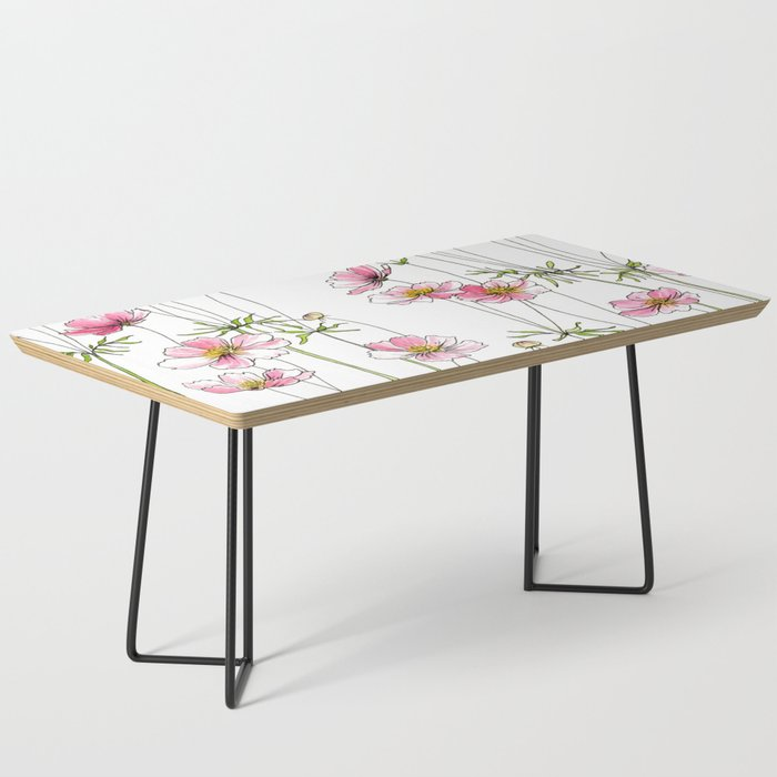 Pink Cosmos Flowers Coffee Table