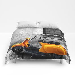 Orange Vespa in Bologna Black and White Photography Comforters