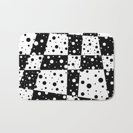 Holes In Black And White Bath Mat
