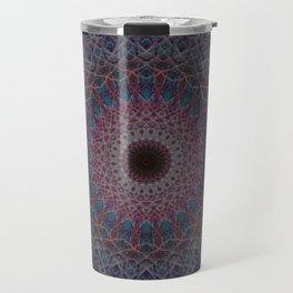 Mandala in blue and red tones Travel Mug