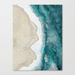 Waves, Beach, Ocean, Blue, Sandy Canvas Print
