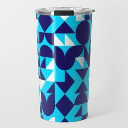 geometric blue Travel Mug