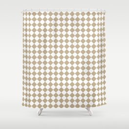 Small Diamonds - White and Khaki Brown Shower Curtain