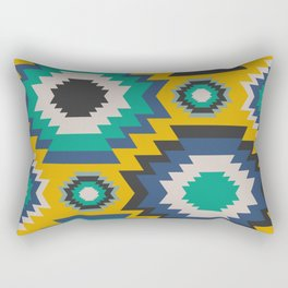 Ethnic in blue, green and yellow Rectangular Pillow