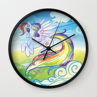 mlp Wall Clocks featuring Rainbow Dash - MLP by mmishee
