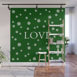 Winter Love - hunter green Wall Mural