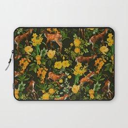 Deer and Floral Pattern Laptop Sleeve