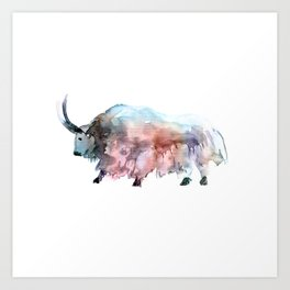 Wild yak 2 / Abstract animal portrait. Art Print