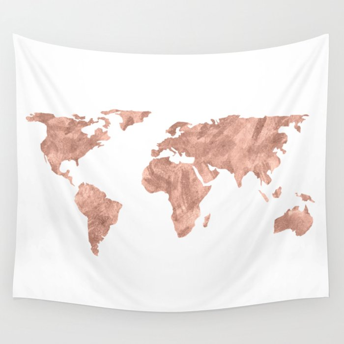 World map rose gold pink vintage wall tapestry by mapmaker society6 world map rose gold pink vintage wall tapestry gumiabroncs Gallery