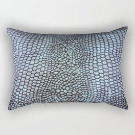 Blue Coloured Real Snake Skin Snakeskin Animal Print Rectangular Pillow