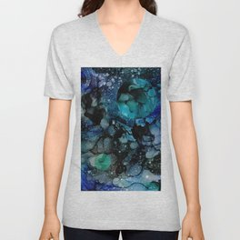 Blue Galaxy: Original Abstract Alcohol Ink Painting Unisex V-Neck