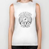 adventure is out there Biker Tanks featuring ADVENTURE IS OUT THERE by Vincent Cousteau