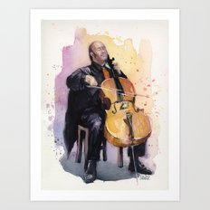 Cello Music Watercolor Cellist Portrait Art Print