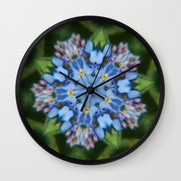 Fluid Nature - Forget Me Not - Abstract Kaleidoscope Wall Clock