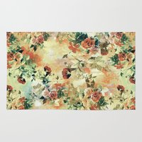 roses Area & Throw Rugs featuring Roses by RIZA PEKER