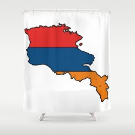 Armenia Map with Armenian Flag Shower Curtain