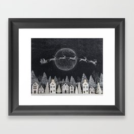Christmas Village Chalkboard Santa & Reindeer Framed Art Print
