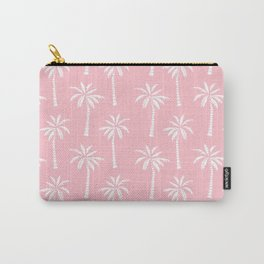 Palm trees pink tropical minimal ocean seaside socal beach life pattern print Carry-All Pouch
