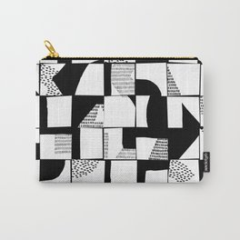 Black and White Typographical Fragmentation Cheater Quilt Carry-All Pouch