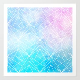 Geometric White Pattern on Watercolor Background Art Print
