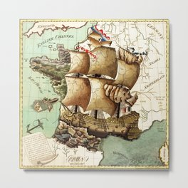 Vintage map of Europe Metal Print