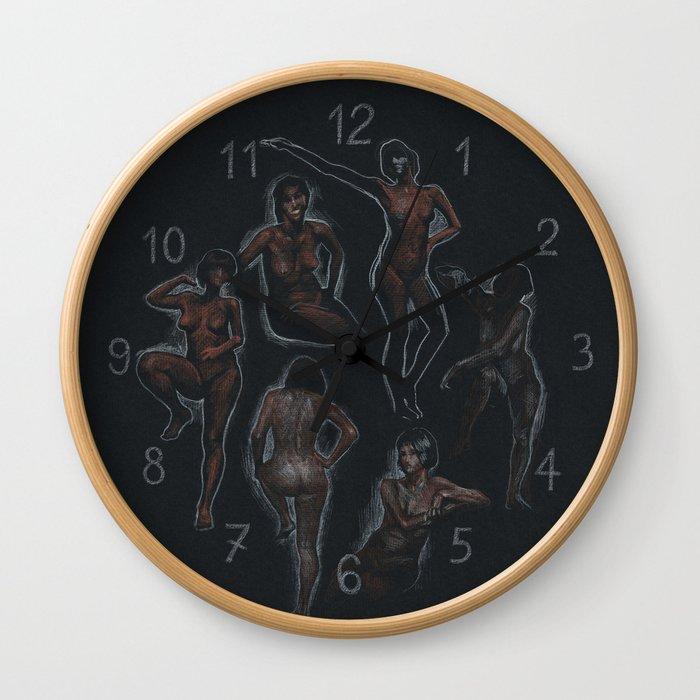 nude sketches / black Wall Clock