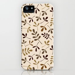 Assorted Leaf Silhouettes Gold Browns Cream Ptn iPhone Case