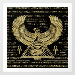 Egyptian Eye of Horus - Wadjet Gold and Black Art Print