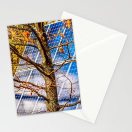 Four Seasons Photosynthesis - Autumn. Oak Tree And A Solar Power Panel Stationery Cards