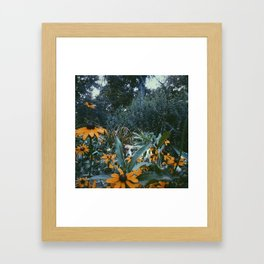 Dog and Flowers Framed Art Print