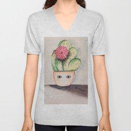 sweet cactus lady Unisex V-Neck