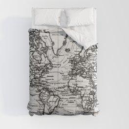 World Map (1899) White & Black Comforters