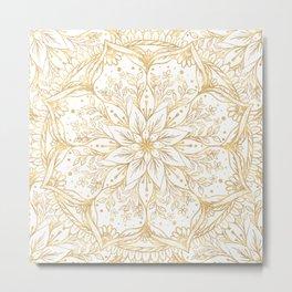 Gold Glitter Flower Mandala Elegant White Design Metal Print