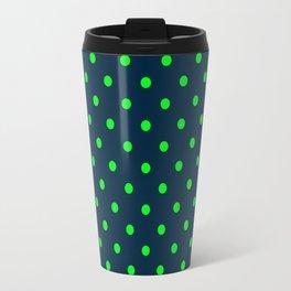 Navy and Neon Lime Green Polka Dots Travel Mug