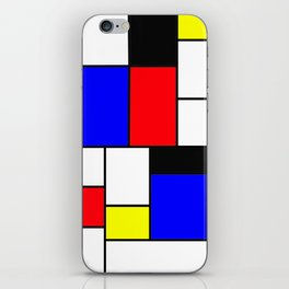 Red Blue Yellow Geometric Squares iPhone Skin