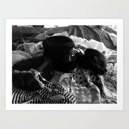 HATS AND SCARVES IN BLACK AND WHITE Art Print