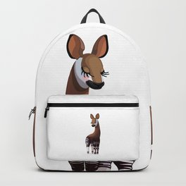 Lovely okapi. Vector graphic character Backpack