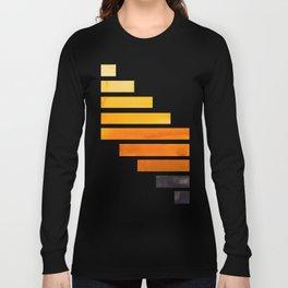 Orange Yellow Ocre Midcentury Modern Minimalist Staggered Stripes Rectangle Geometric Pattern Waterc Long Sleeve T-shirt
