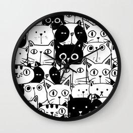 MONOCHROME CAT PATTERN Wall Clock