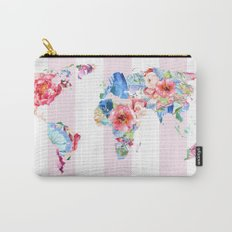 Floral World - Pink Stripe Carry-All Pouch