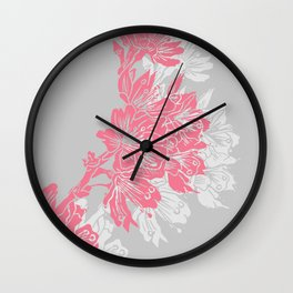 Cherry Blossom Grey Block Print Wall Clock