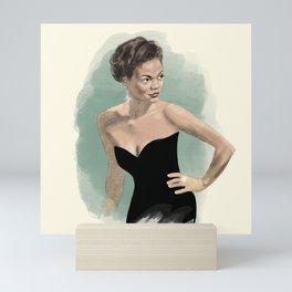Eartha Kitt // Movie Star, Old Hollywood, Golden Age, Silver Screen // Watercolor, Pencil Sketch Mini Art Print
