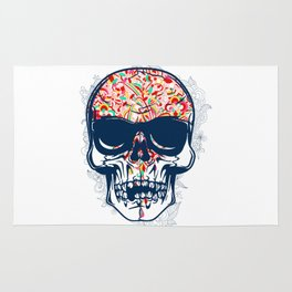 Dead Skull Zombie with Brain Rug