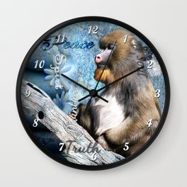 Zen Meditating Mandrill Wall Clock