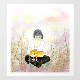 The reading girl Art Print