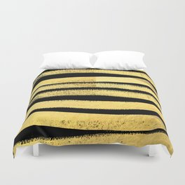 Sochie - black gold minimal black and white modern retro bold dramatic cell phone iphone case trendy Duvet Cover